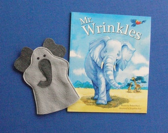 Elephant Hand Puppet and Book Set / Gray Elephant Puppet and Book