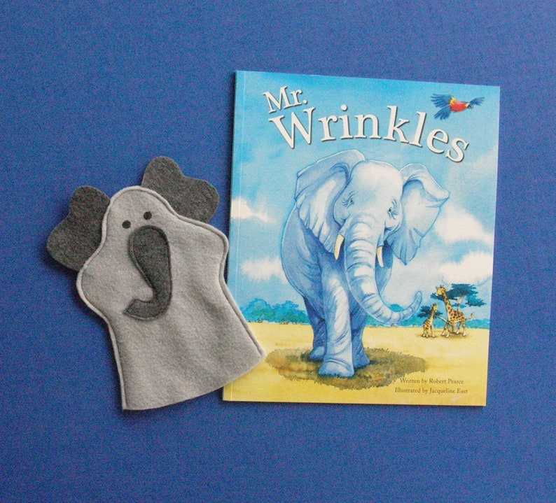 Elephant Hand Puppet and Book Set / Gray Elephant Puppet and image 0