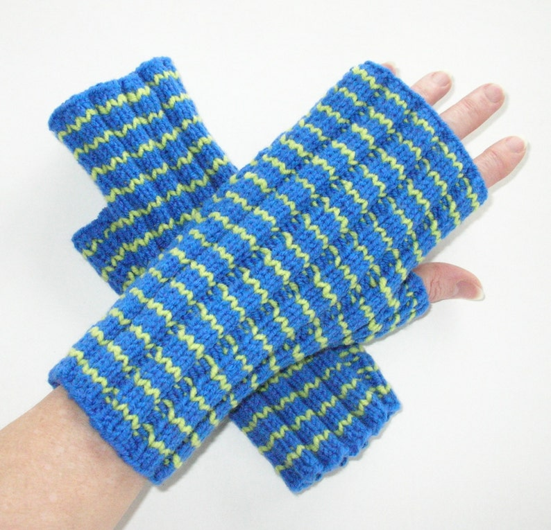 Blue and Green Striped Fingerless Gloves / Wool and Acrylic / image 0
