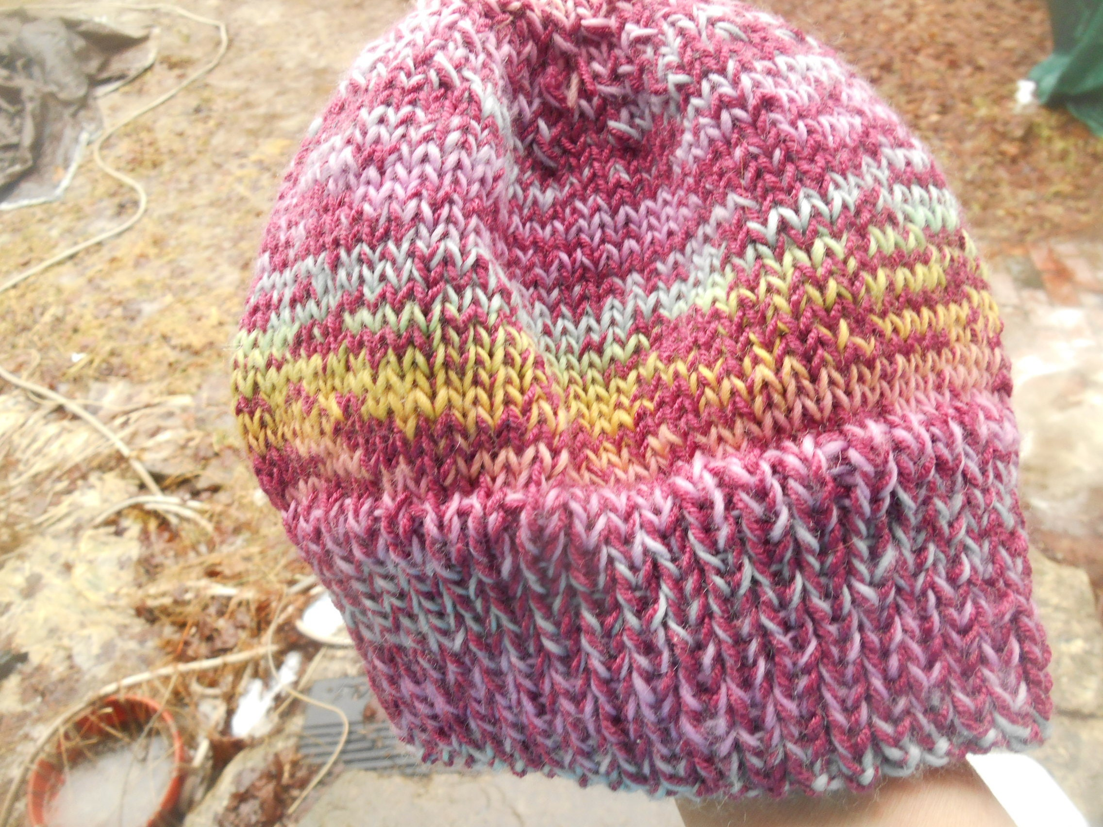 bb3f8d89530 Hand knit knitted hat watchcap skull cap beanie wool bamboo