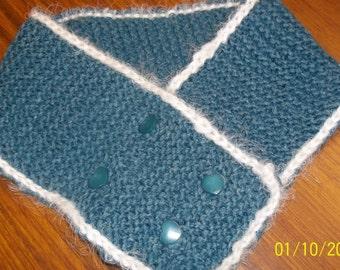 Hand knit llama silk short scarf scarflette neckwarmer teal white heart buttons