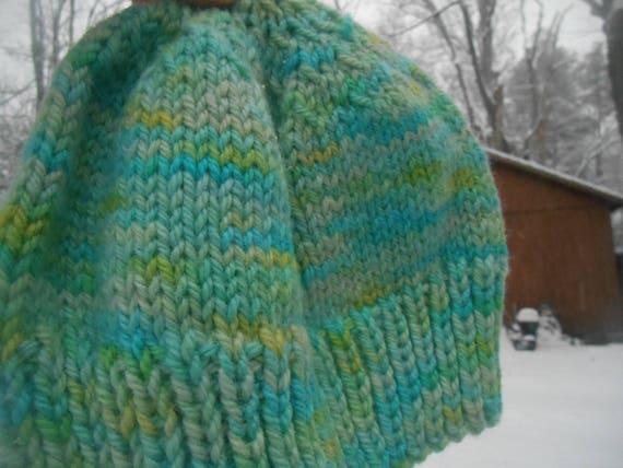 79f8d9a2d1a Hand knit knitted hand dyed handspun bulky wool hat watch cap