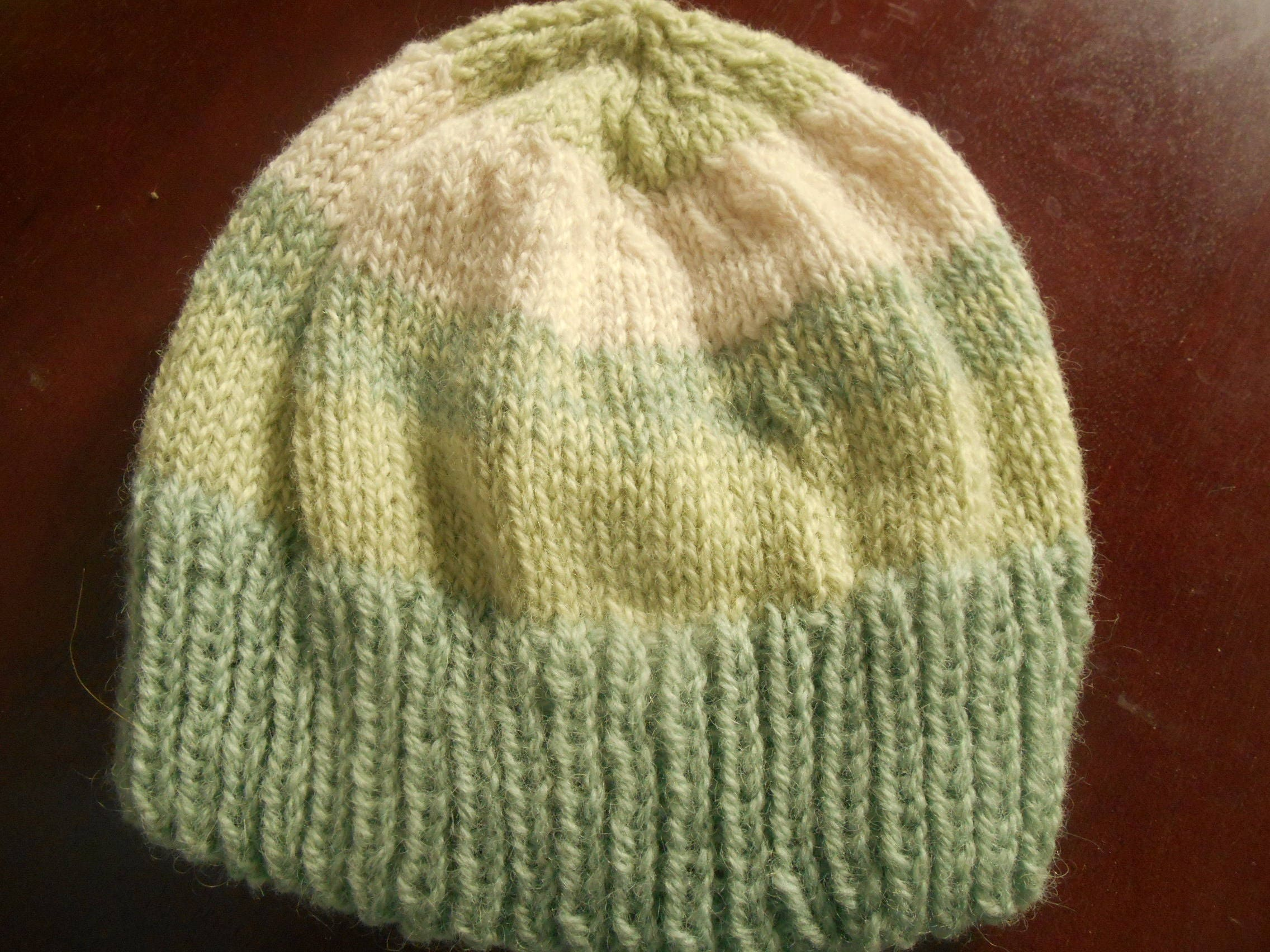 Hand knit hand dyed New Zealand wool hat knitted watchcap cap  ea915a90568