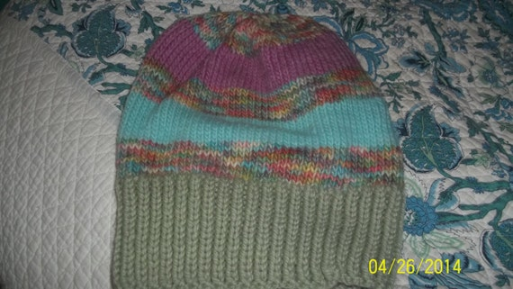 2f43de89633 Hand knit knitted hand dyed Merino wool Morehouse Farms hat