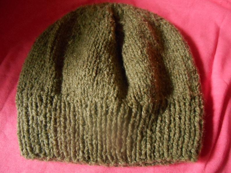 ff24c225d90 Hand knit knitted wool silk hat watch cap beanie brown tweed
