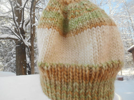 93d8f28d07a Hand knit knitted wool roving hat watch cap beanie chapeaux