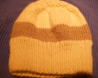 Handknit knitted wool watch cap roving Paton's classic wool beanie men women teen one size natural white with brown stripe