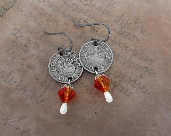 Traveler - Antique 1948 Long Beach Lines California Transit Tokens Orange Swarovski Crystals Niobium Wires Recycled Jewelry Earrings