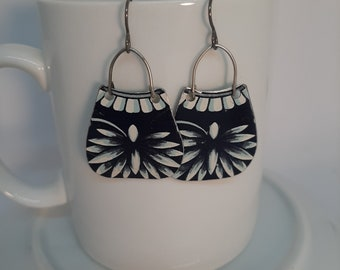 Am I Blue- Antique Art Deco Dark Blue and White Purse Shaped  Restored Tin Niobium Wires Recycled Earrings Jewelry - 10th Anniversary Gift