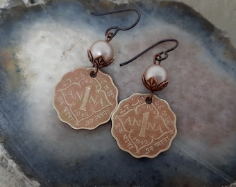 Always, Anna - 1942 British India Anna Copper Coins Swarovski Pearls Beadcaps Niobium Wires Recycled Repurposed Assemblage Jewelry Earrings