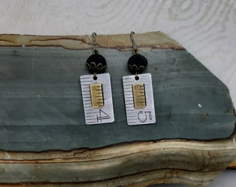 For Good Measure - Vintage Aluminum and Brass Rulers Niobium Wires Recycled Repurposed Jewelry Teacher Gift Carpenter No. 45 or 54 Earrings