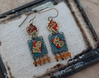 Tokyo Blues - Vintage Asian Silk on Tin Square Bezels Swarovski Crystals Small Dainty Recycled Repurposed Earrings Jewelry