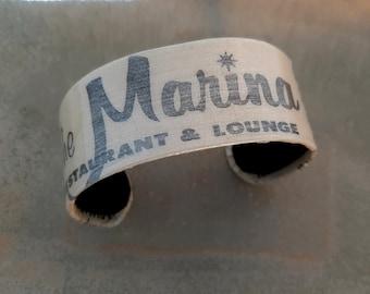Marina - Vintage Broadwater Marina Biloxi Mississippi Graphic Decoupaged Recycled Repurposed Jewelry Cuff Adjustable Bracelet