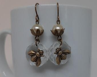 Honey on Ice - Vintage Chandelier Crystals Brass Honey Bees Vintage Pearls Leaf Beadcaps Recycled Repurposed Jewelry Earriings