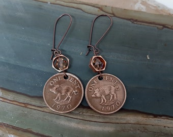 Piglet  - 1970 Bermuda One Cent Pig Wild Boar Razorbacks Coins, Crystals Recycled Jewelry Earrings 51st Birthday Gift