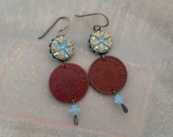The Tax Man Cometh - Antique Red Colorado Sales Tax Tokens Teal Czech Glass Buttons Recycled Repurposed Upcycled Assemblage Earrings