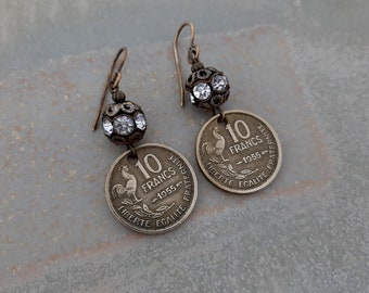 Wake Up Call - 1955 French Rooster 10 Franc Coins Rhinestone Ball Beads Recycled Repurposed Jewelry Earrings 66th Birthday