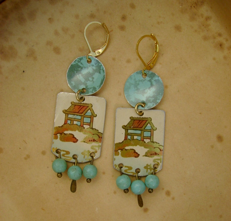 Pagoda Vintage Recycled Oriental Asian Pagoda Hand Cut Turquoise Tin Earrings Upcycled Repurposed Jewelry 10th Anniversary Gift