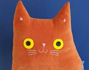 Cat Cushion: Handmade ginger velvet (Mr Stanley Whiskers)