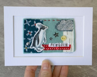 Penguin Mini Textile Collage Artwork