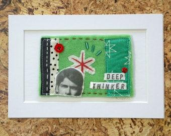 Deep Thinker Mini Textile Collage Artwork