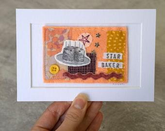 Star Baker Mini Textile Collage Artwork