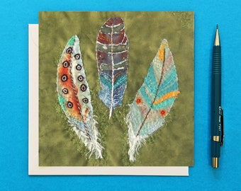 Feathers Embroidery Greetings Card