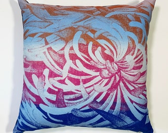 blue spider mum screen printed pillow cover