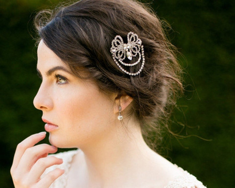 Gatsby 1920s Style Bridal Pearl Hair Clip with Crystals Becca