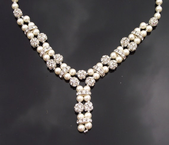Beautiful Ivory Pearl And Crystal Bridal Necklace Wedding Etsy
