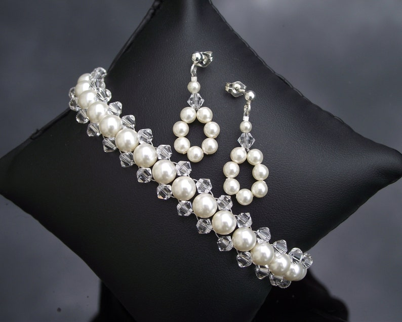 Anabelle Woven Pearl and Crystal Bridesmaids Bracelet and Earring Set