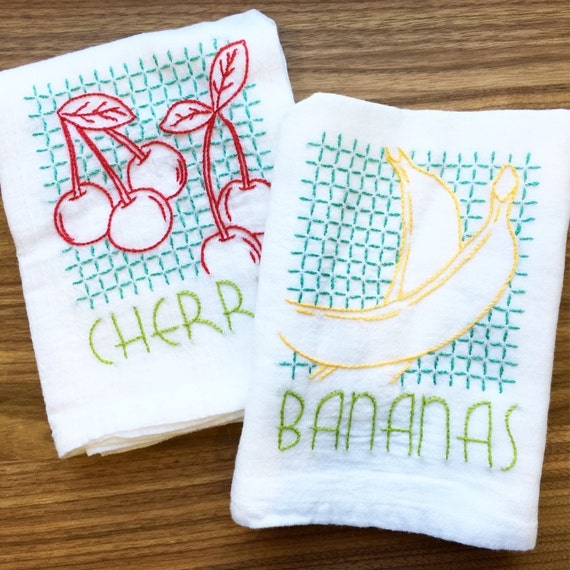 Vintage Fruit Hand Embroidered Dish Towels Bananas