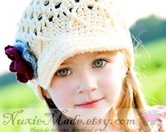 55f2ed04995 2T-4T Rose Pink Flower Beanie with Brim Toddler Crochet Hat