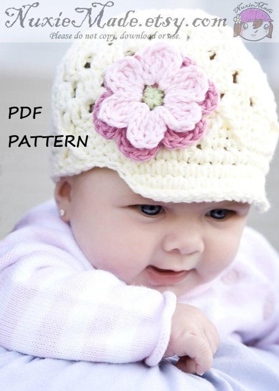 3813982ac78 Crochet Hat Pattern PDF NuxieMade Flower Beanie with Brim Hat