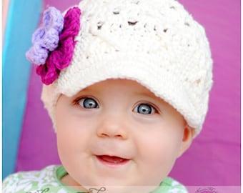 Baby 3-6 months Ivory Crochet Hat, Toddler Girl Hat, Baby Girl Hat with Flowers, Childrens Crochet Hat, Hat for Girls, Baby Winter Hat