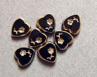 Vintage black glass heart charms