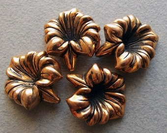 Vintage copper coated trumpet flower beads