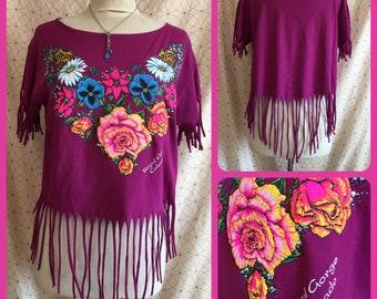 SALE... RoyalGorge Colorado - UPCycled - T Shirt - Sweet and Simple Feminine - FRINGE - HANDMADE eco Fashion music festival