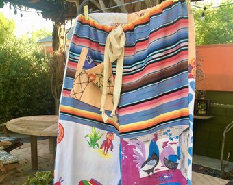 Blue Serape- 2X Beach Pants From Repurposed Vintage Textiles