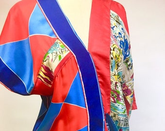 Primary Colors Silk Dress from Vintage Repurposed Silk Scarves
