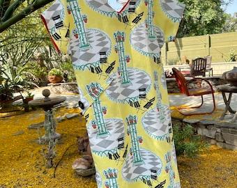 Roman Holiday- Vintage Novelty Print Column Dress