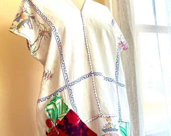 Pagoda- Summery Linen Dress Designed with Repurposed Vintage Textiles
