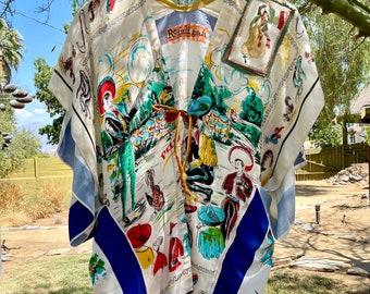 Mexico on My Mind- Kimono/ Coverup from Vintage Souvenir Scarves