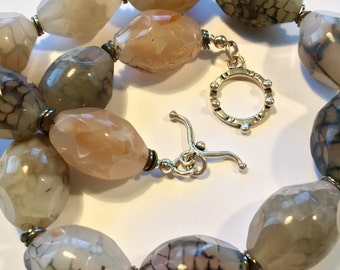 Lorimarsha Necklace- Chunky Gray Faceted Agate Choker