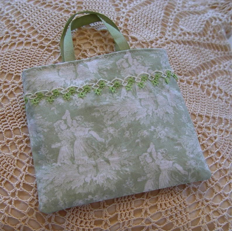 fabric gift wrapping green favor bag Small tote style fabric gift bag jewelry bag
