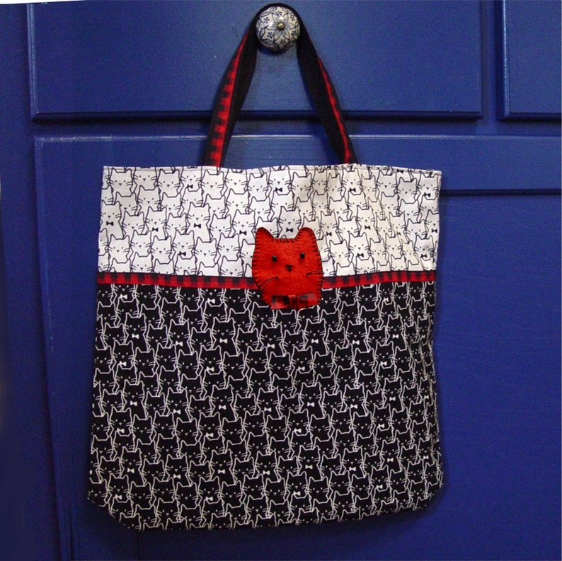 carryall market bag black and white with red pop shopping bag Cat lover/'s tote bag