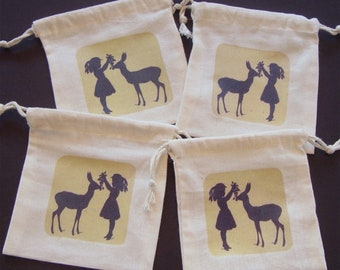4 party favor bags, Victorian girl, deer, drawstring bags, jewelry bags, candy bags, soap bags