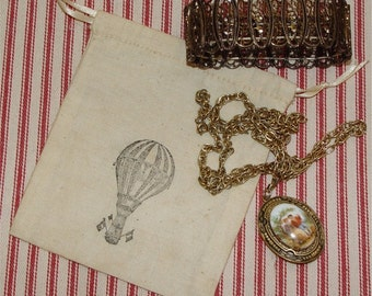 party favor bags, jewelry bag, tea dyed, vintage, unbleached muslin, drawstring bag, hot air balloon