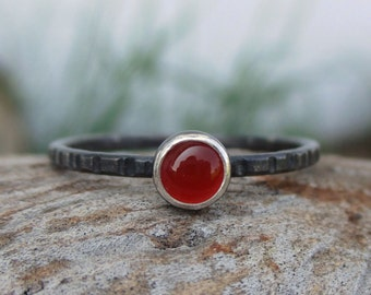 Red Carnelian - Tiny Stacking Ring