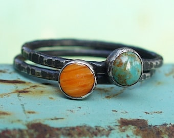 Orange Spiny Oyster and Turquoise Stacking Set
